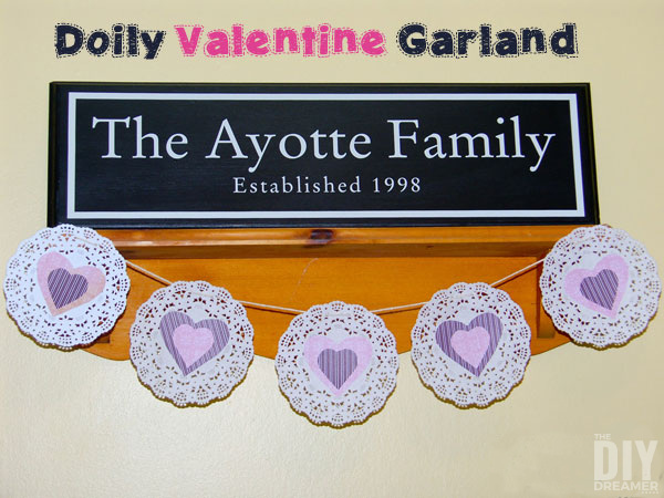 Doily Heart Garland. Great Valentine's Day Craft to decorate your home. Celebrate Valentine's Day with cute banners. Fun Valentine Banners.