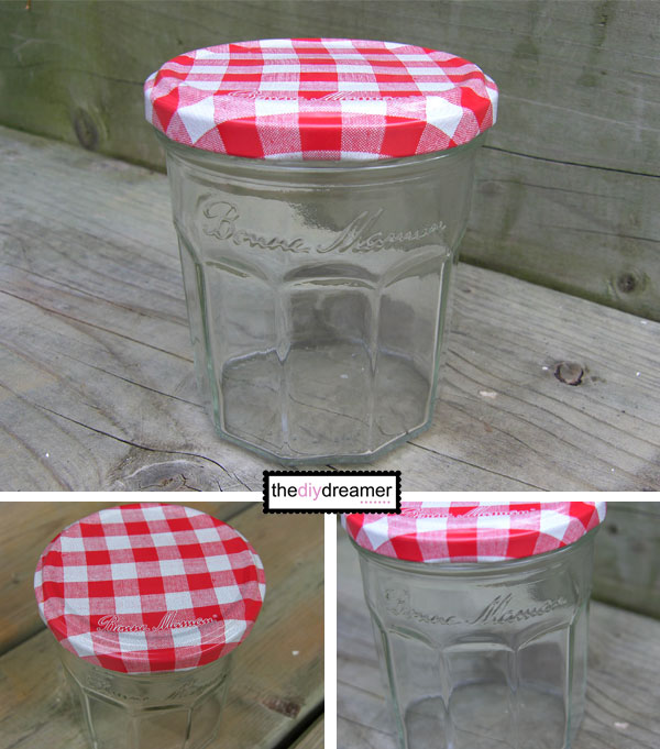 Bonne Maman jar with checkered lid