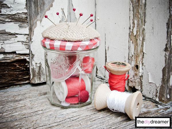 How to make a Pincushion Jar with a cute jar.