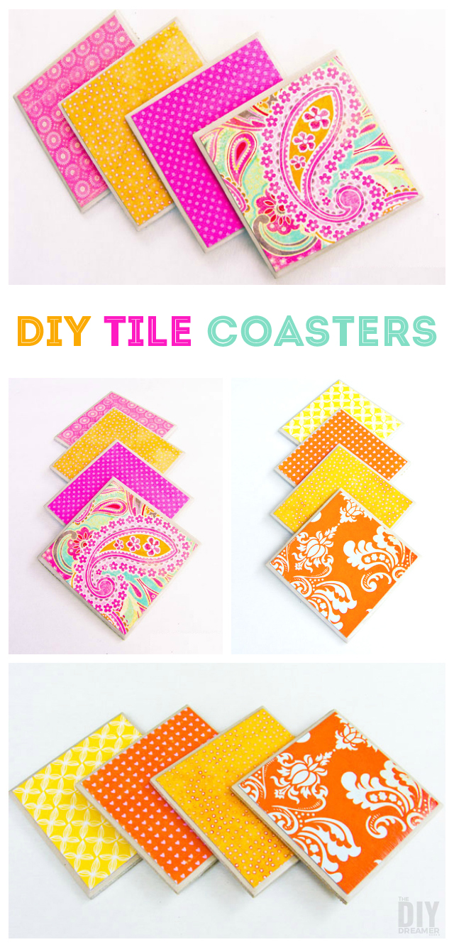 Learn how to make your very own Tile Coasters. Making tile coasters is so much fun! Simple to make with little supplies. They make great gifts too!