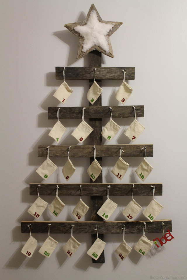 Rustic Advent Calendar. Wall Mounted Advent Calendar perfect for a Rustic Christmas.
