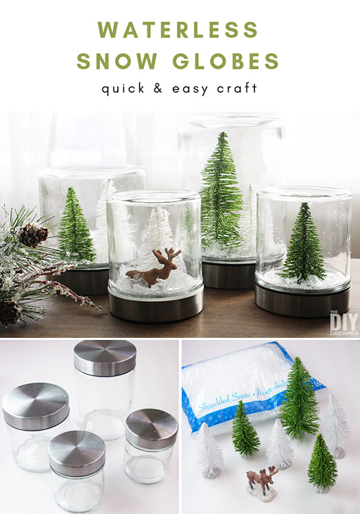 DIY Waterless Snow Globes. A fun tutorial on how to make snow globes without water. Quick and easy craft.