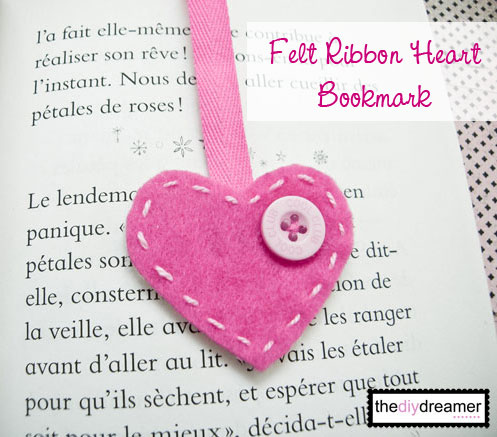 Bookmark Felt Heart - How to make a bookmark - The D.I.Y. Dreamer