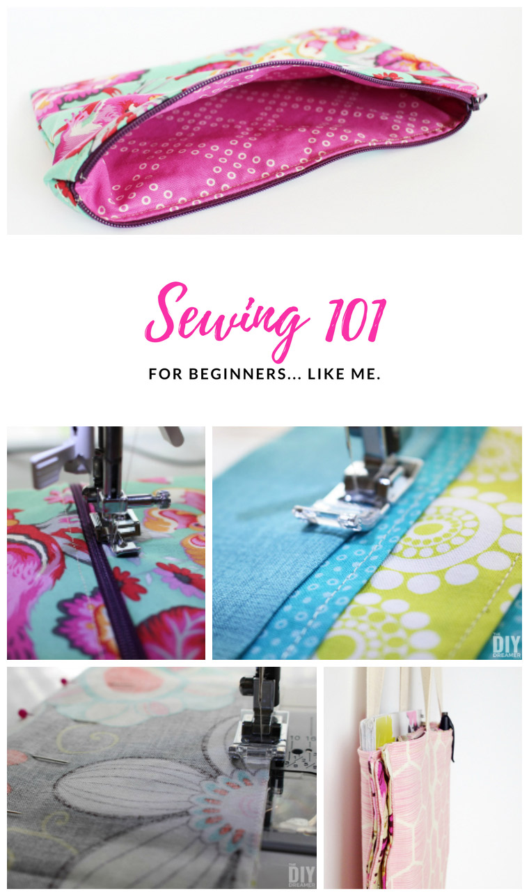 Sewing 101 for beginners like me. A sewing guide for beginners that includes a dictionary with pics, demonstrates how to install a zipper and lots in between. Great resource! #sewing #sewing101 #sewingguide #sewingtutorial #learntosew