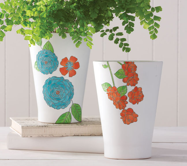 Martha Stewart Crafts Flowers and Leaves Paintable Clings Pots
