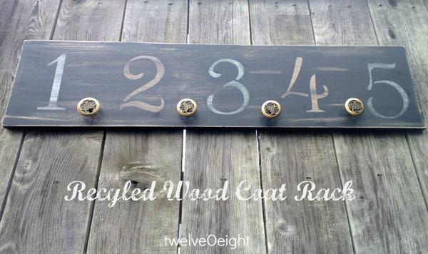 Recycled Wood Coat Rack