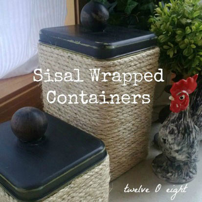 Sisal Wrapped Tin Containers {twelveOeight}