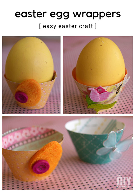Easter egg wrappers. Making egg cups is such a fun Easter craft. They add a beautiful touch to your Easter tablescape too.