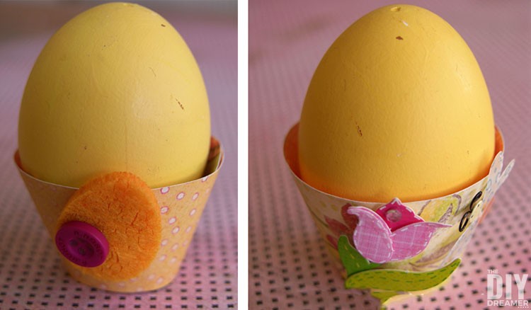 DIY Easter egg cups to hold Easter eggs.
