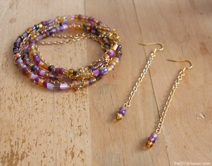 Chain Bead Bracelet Earrings