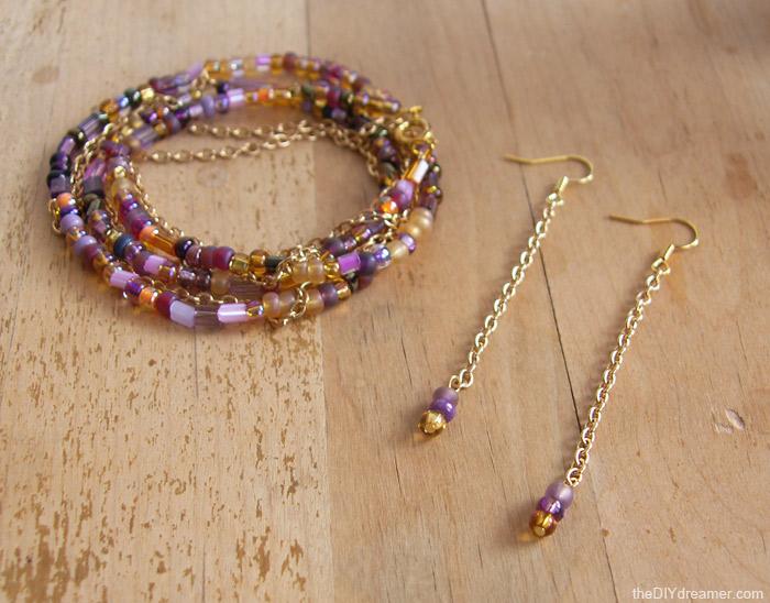 Chain Bead Bracelet Earrings