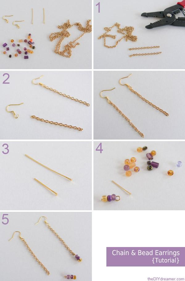 Chain Bead Earrings Tutorial