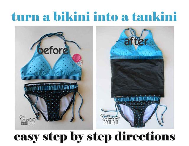 How to Turn a Bikini into a Tankini EASY!!