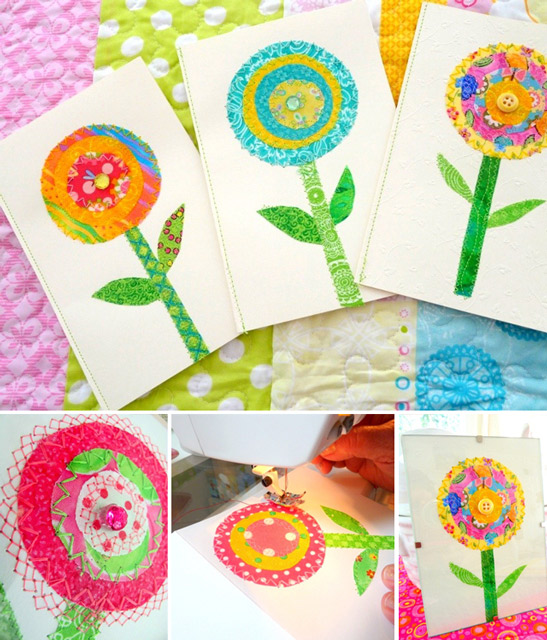Fabric Flower Cards
