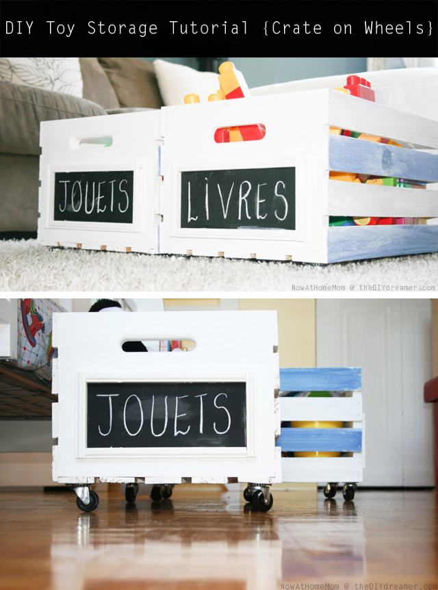 DIY Storage Tutorial. Learn how to make your very own crate on wheels! This is a perfect storage idea for kids toys, magazines, or anything you'd like to store in crates and be able to move them around as you please. Perfect for hiding stuff under the bed for extra storage space.