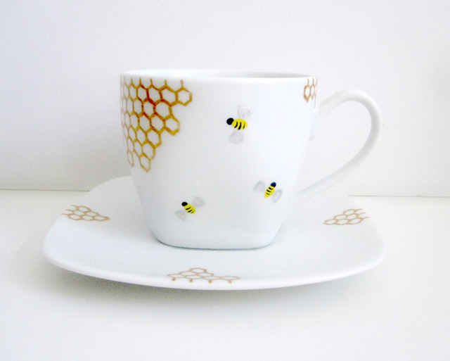 Bees and Golden Honey Combs Teacup and Saucer
