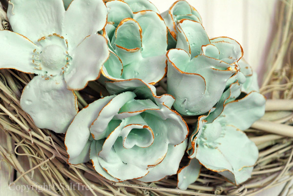 Turquoise Plaster Dip Flowers