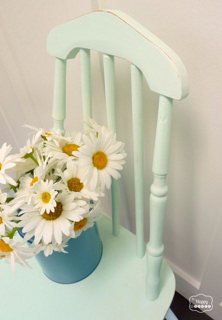 DIY Chalk-based Paint free mint chair in entry