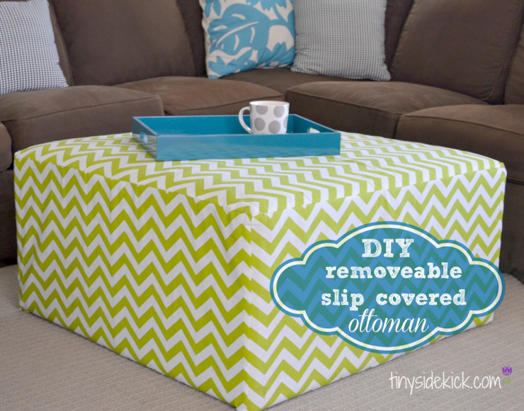 Removable Slip Covered Ottoman
