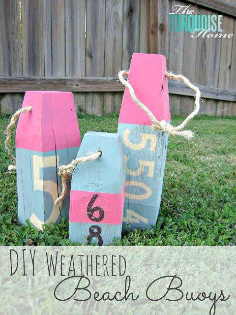 DIY Weathered Wood Beach Buoys