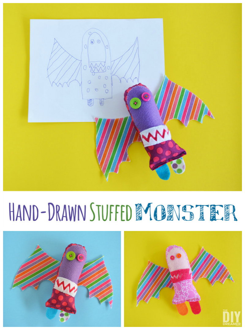 Hand-drawn Stuffed Monsters. Did you know that you can transform your children's drawings into stuffed toys? That's exactly what we did! Fun kid craft!