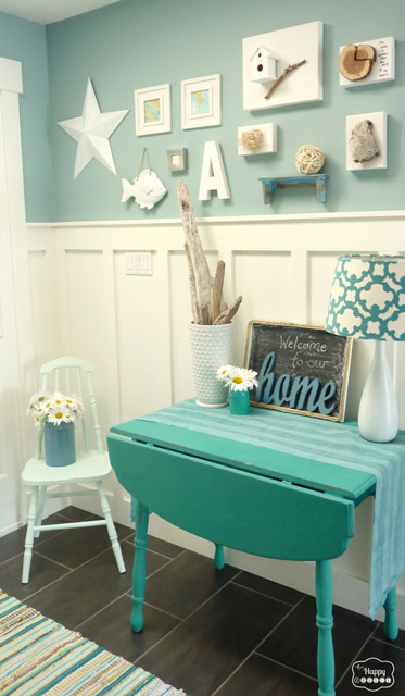mint chair in entry hall