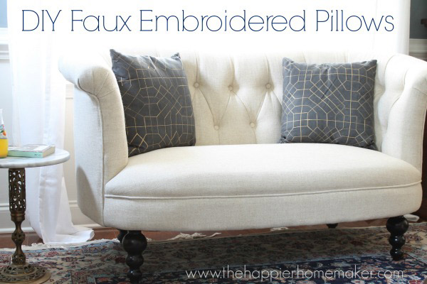 DIY Faux Embroidered Pillows
