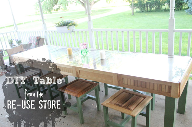 DIY Table with cabinet doors