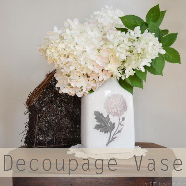 DIY Decoupage Vintage Vasa