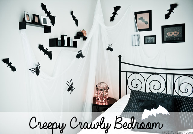 Creepy Crawly Bedroom by The DIY Dreamer at 30 Spider and Bat Halloween Decoration Ideas