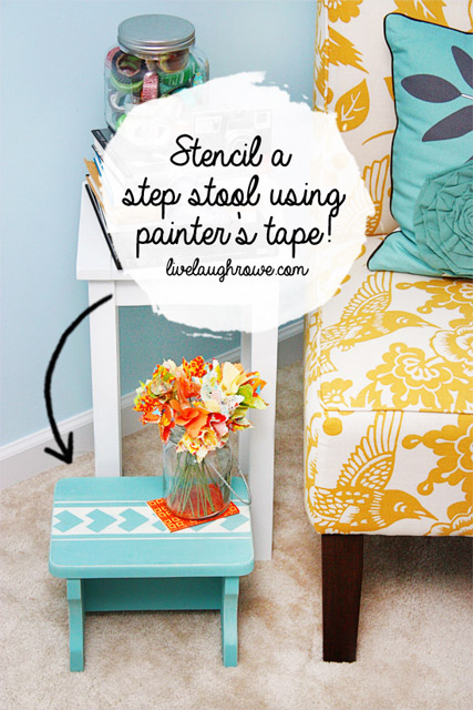 Stencil a Step Stool with Painter's Tape