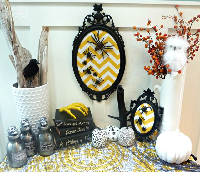 DIY Chevron Spider Art for Halloween