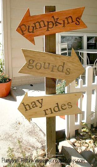 Wooden Pumpkin Patch Sign