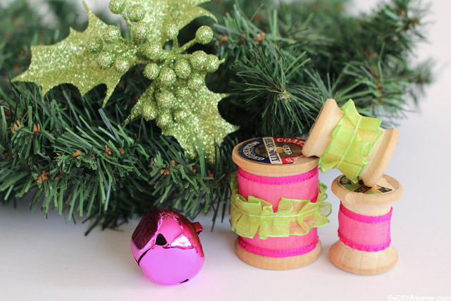 Decorated Wooden Spools and accessories