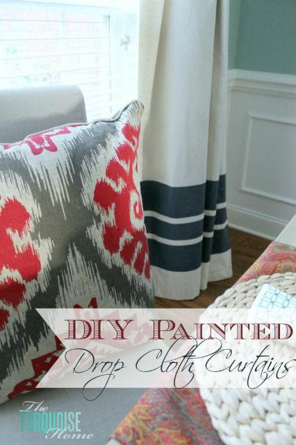 DIY Painted Drop Cloth Curtains