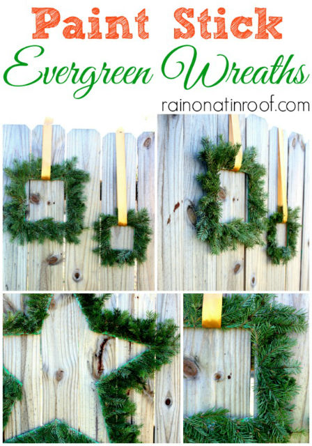 Paint Stick Evergreen Wreaths - How to make Evergreen Wreaths with paint sticks