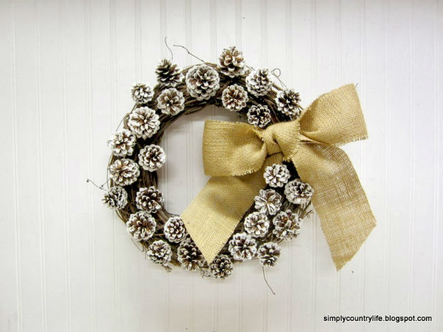 Rustic Pine Cone and Burlap Wreath