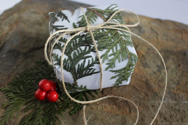 photocopied tree branch wrapping paper tied with natural string