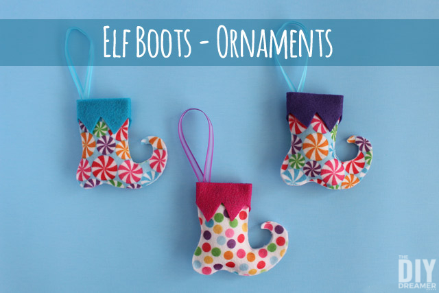 Elf Boots Felt Ornaments. These super fun DIY ornaments are a great family craft to do for the holidays. Click through to learn how to make some too! thediydreamer.com