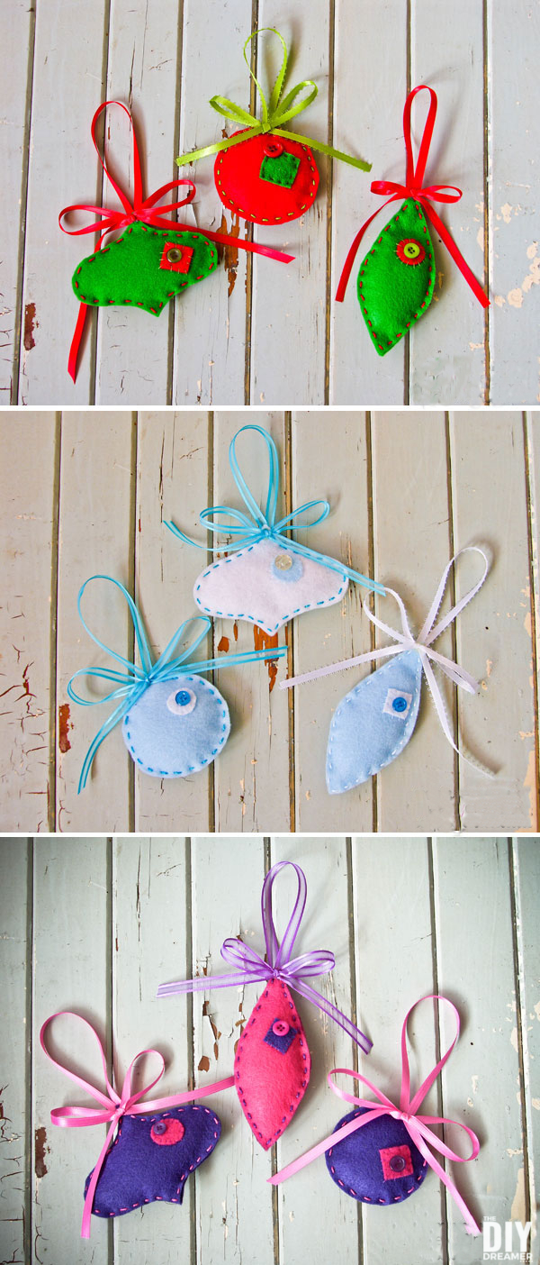 Beautiful Felt Ornaments. These ornaments are a great DIY Holiday Craft. They are really fun to make and possibilities are endless. Click through to learn how to make some too! thediydreamer.com