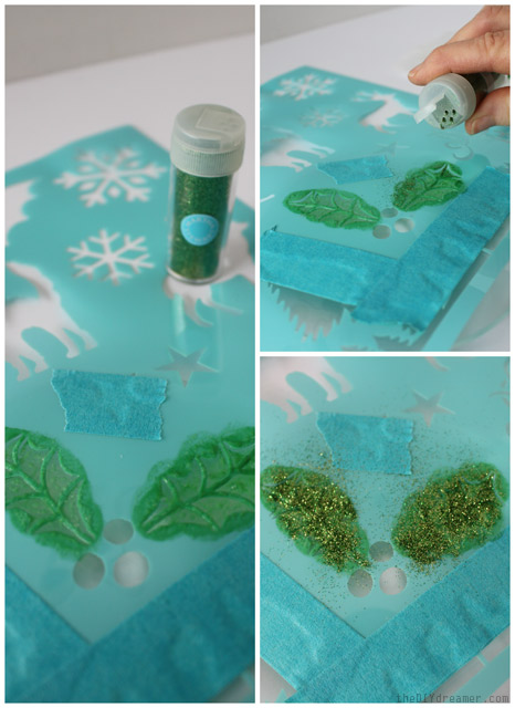Apply glitter onto the holly leaves