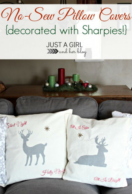 No Sew Pillow Covers Decorated with Sharpies