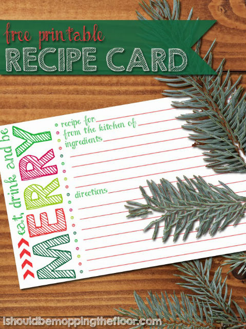 Free Printable - Holiday Recipe Card