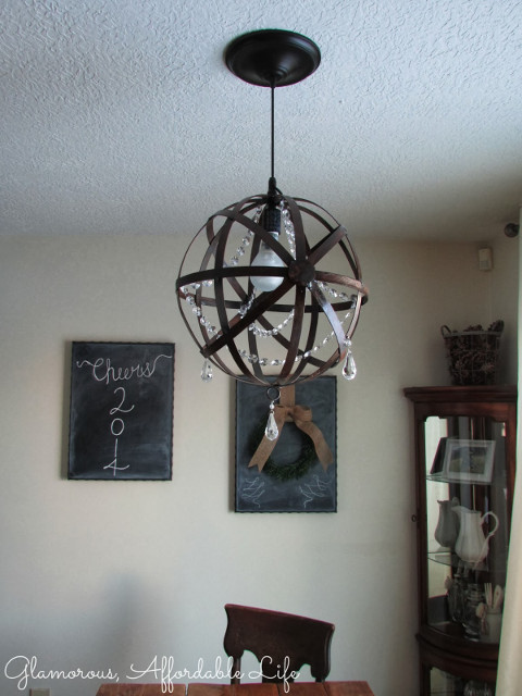 DIY Crystal Iron Orb Chandelier