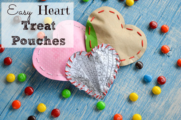Easy Valentine's Heart Treat Pouches and Printable