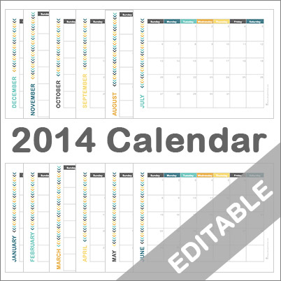 Calendar 2014 Printable Monthly
