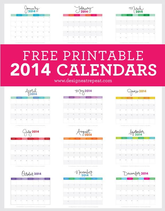 Free Monthly 2014 Calendar