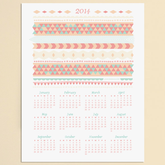 Beautiful 2014 Printable Calendar