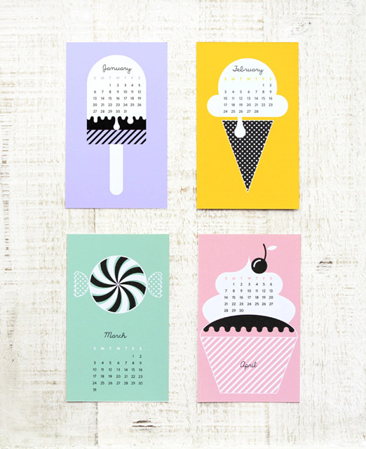 Sweet New Year Calendar - 2014 Printable