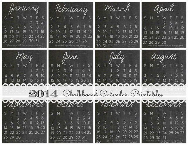 2014 DIY Calendar Case and 12 FREE Printables - Chalkboard Calendar